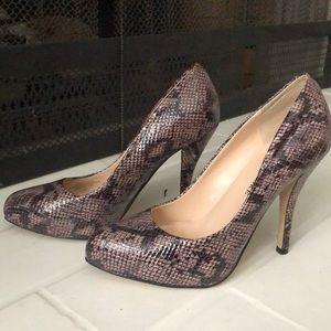Purple snakeskin heels- Audrey Brooke